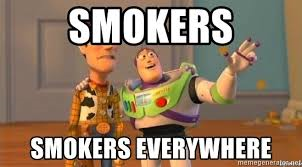 Buzz lightyear meme saying smokers everywhere