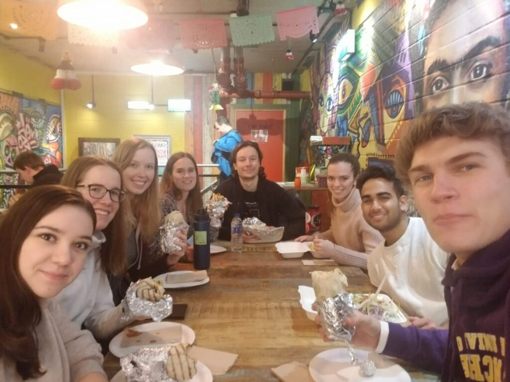 Me and some new friends enjoying burritos