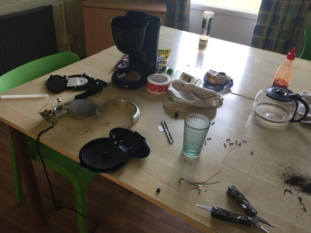 Coffee maching in pieces